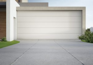 Modern house and big garage with concrete driveway In Lincoln